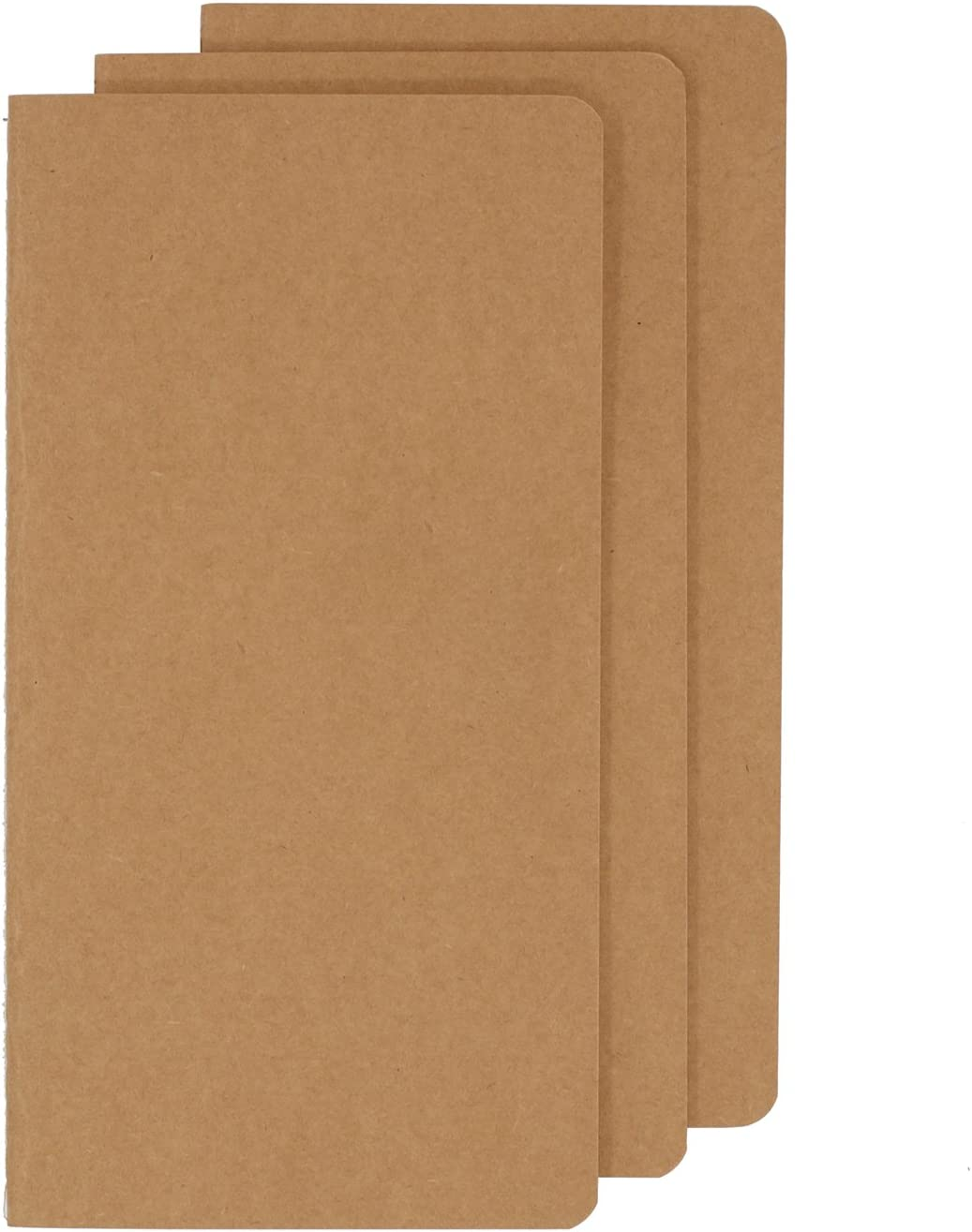 Unlined Travel Journal Set With 3 Notebook Journals for Travelers - Kraft Brown Soft Cover - H5 Size - 100gsm - 210 mm x 112 mm - 100gsm 60 Pages/ 30 Sheets