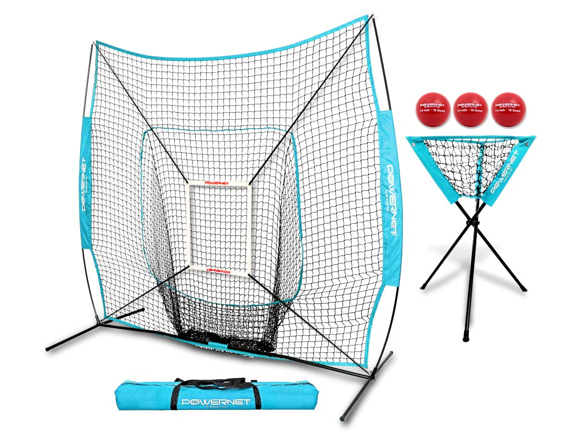 PowerNet DLX Combo 6 Piece Set for Baseball Softball (Sky Blue) | 7x7 Practice Net Bundle w/Strike Zone, Ball Caddy + 3 Weighted Training Balls | Team or Solo Training | Hitting & Throwing