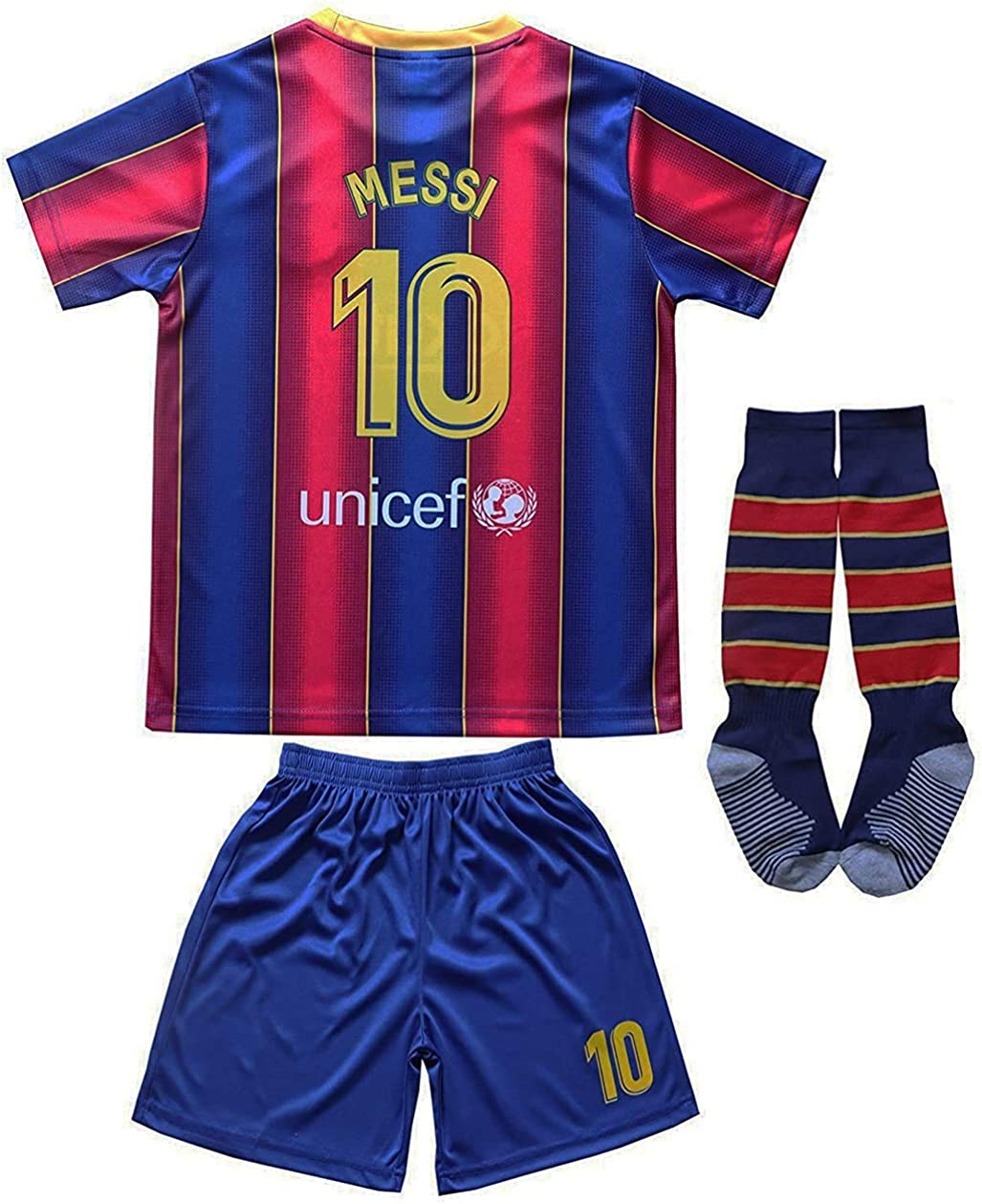 Da Games Youth Sportswear Barcelona Messi 10 Kids Home Soccer Jersey/Shorts Football Socks Set
