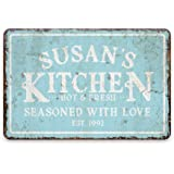Pattern Pop Personalized Vintage Distressed Look Mint Kitchen Seasoned with Love Metal Room Sign