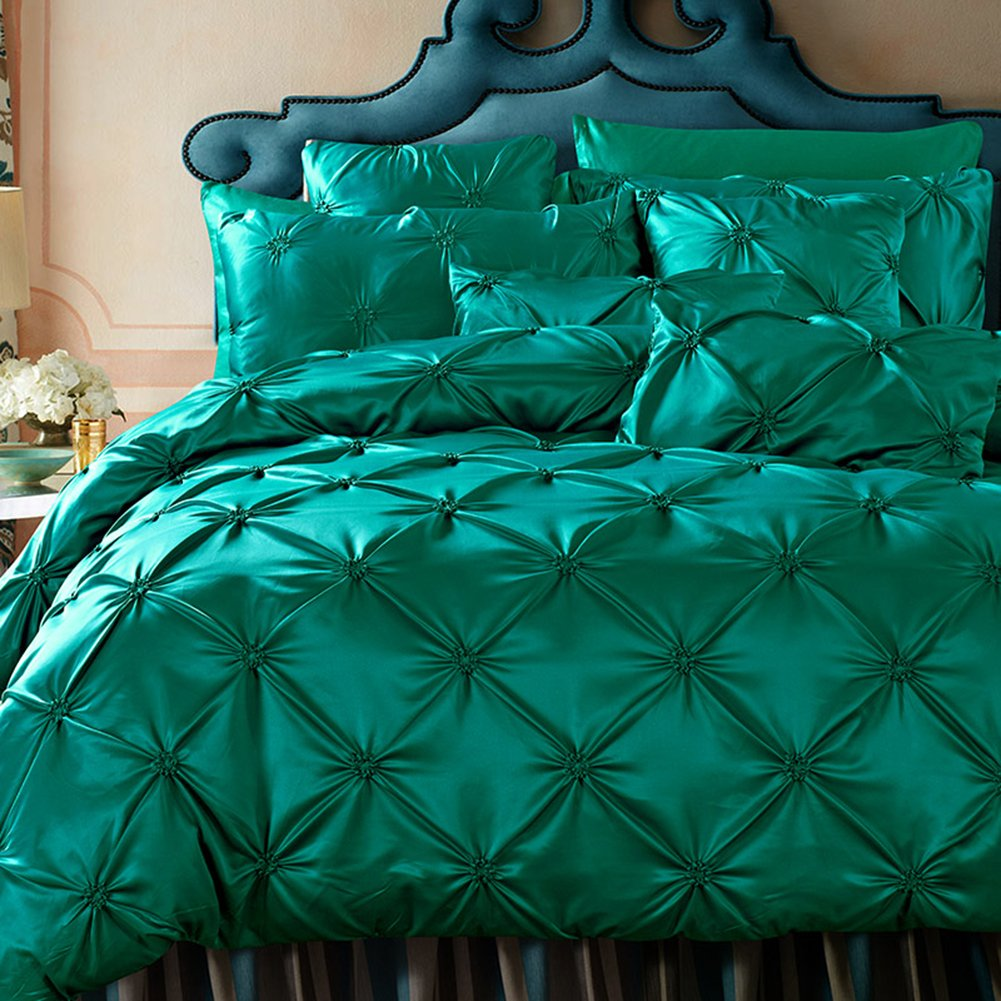 French Romantic Bedding Sets Green - MeMoreCool 100% Cotton & Washed Silk Duvet Cover Sets Princess Home Textiles Flat Sheet Queen