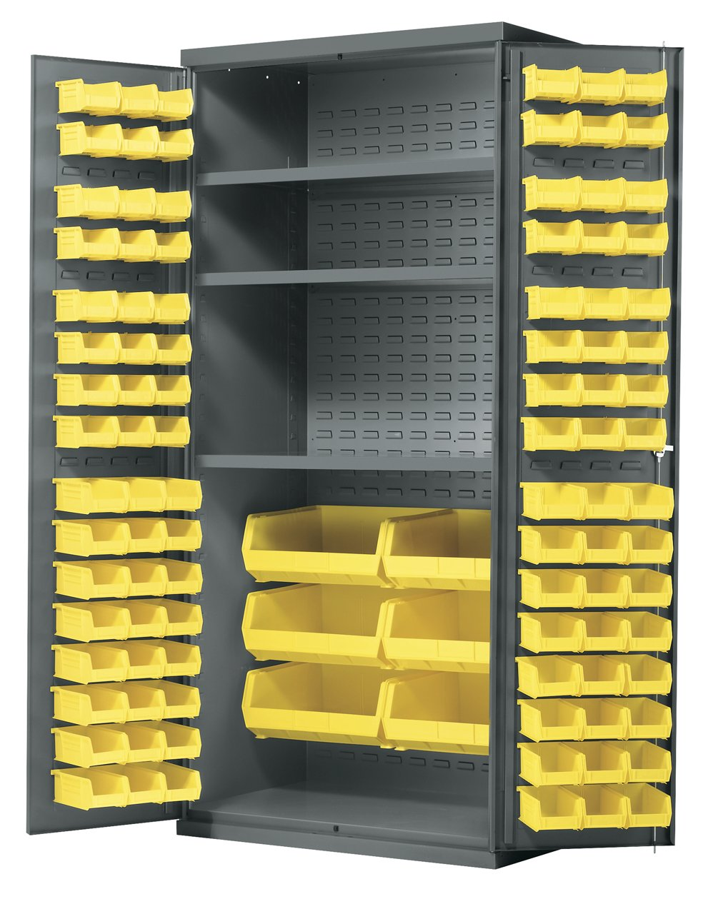 Akro-Mils AC3624 Y3AS Steel Storage Cabinet with Shelves, Louvered Panels and 102 Yellow AkroBins, 36'' W x 24'' D x 78'' H