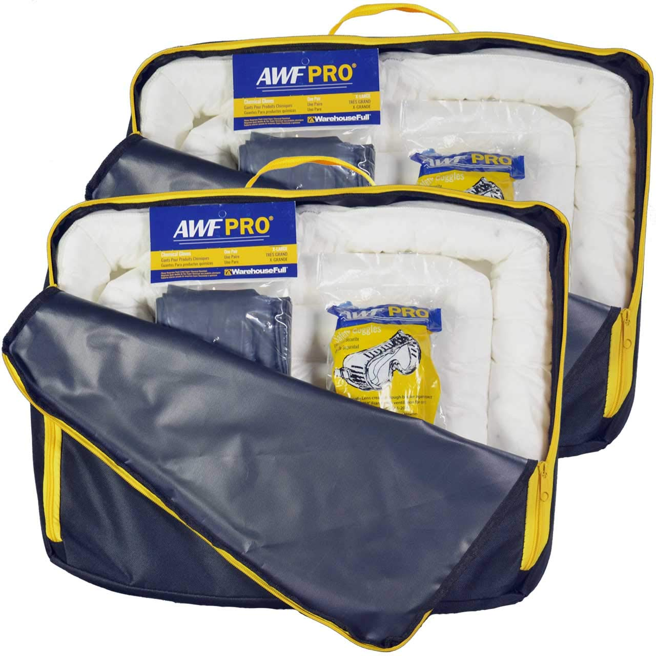 3 Sorbent Socks 5 Disposal Bags 1 Pair of Goggles and Chemical Gloves Portable Oil Only Spill Kit 2 Pack: Each Kit Contains 35 Pieces: 25 Sorbent Pads Packed in a Heavy Duty Reusable Nylon Bag