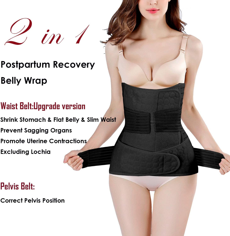 Amazon Com 2 In 1 Postpartum Support Recovery Belly Wrap Waist Pelvis Belt Body Shaper Postnatal Shapewear One Size Black Health Personal Care