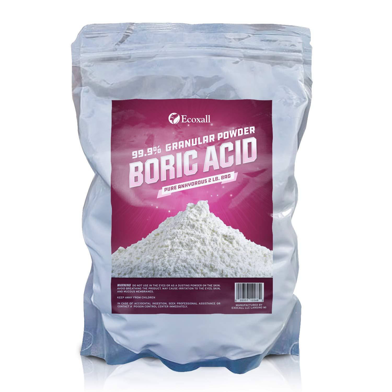 Ecoxall - Fine Granular Boric Acid Powder 99.9% Pure Anhydrous 2 lb. Bag