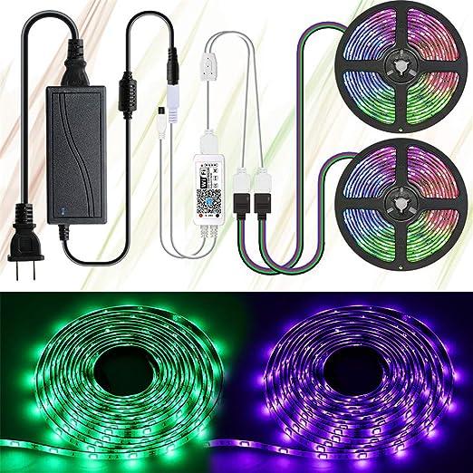 Luces De Tira LED, DC12V3A 10M 300Leds 5050 RGB Impermeable Cinta De Luz LED Con Control Remoto WIFI Para Dormitorio Cocina Gabinete TV Fiesta, Fuente De Alimentación UL: Amazon.es: Hogar