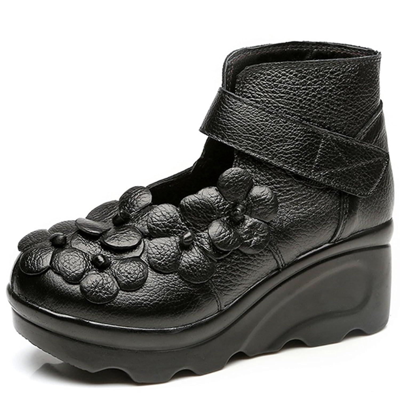 Cunzhai Women's Retro Style New Unique Handmade Leather Casual Shoes