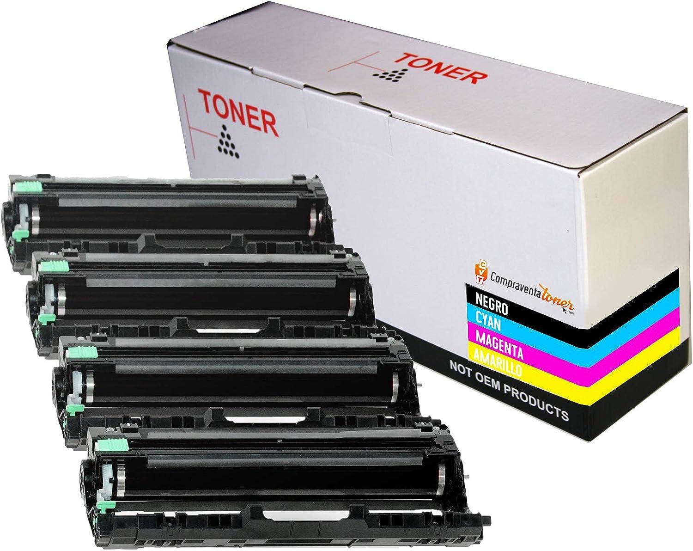 DR-243CL para Brother HL-L3210CW HL-L3230DW MFC-L3710CW MFC-L3750CDW MFC-L3770CDW DCP-L3550CDW DCP-3517CDW DCP-3730CDW Pack 4 Tambores Compatibles DR243 CVT CompraVentaToner