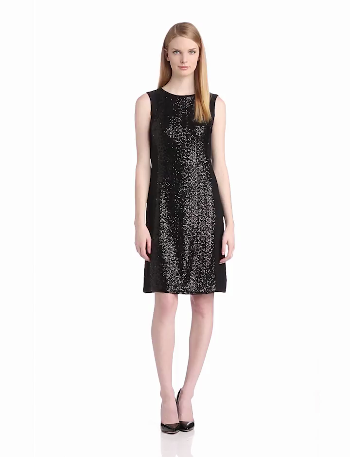 Anne Klein Womens Sequin and Jersey Shift Dress