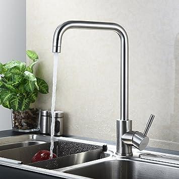 KINSE® 360°Schwenkbar Küchenarmatur Küche Wasserhahn Aus SUS304 Edelstahl  Einhebelmischer Spüle Armatur Spültischarmatur Mischbatterie