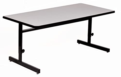 Correll 30 x72 Adjustable Height Training Computer Tables, Gray Granite High Pressure Laminate, Computer Work Station CSA3072-15