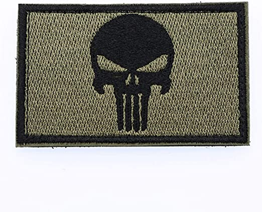Cobra Tactical Solutions Punisher Skull Parche Bordado Táctico Moral Militar con Cinta adherente de Airsoft Paintball para Ropa de Mochila táctica (Verde/Negro): Amazon.es: Hogar