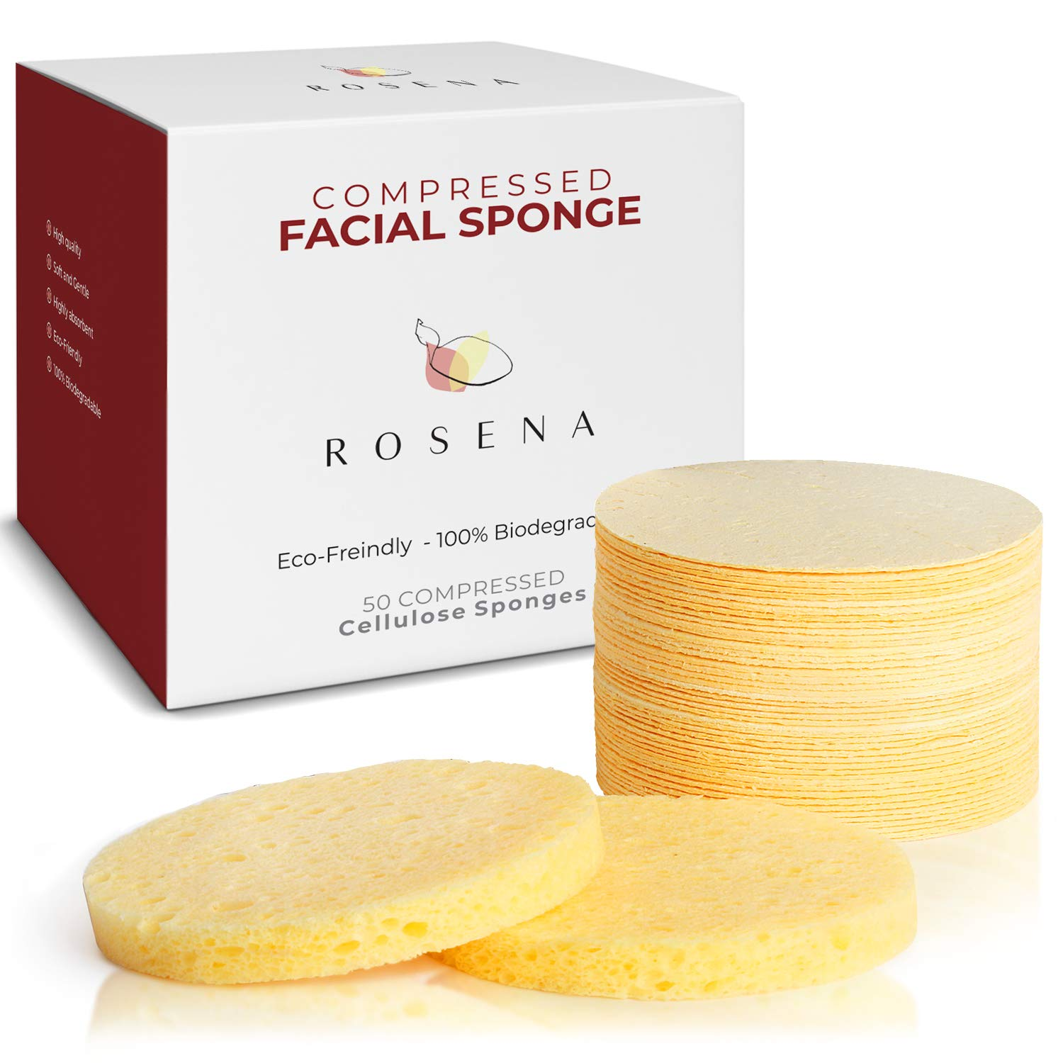 Amazon Com Facial Sponges 50 Count Compressed Cellulose Face Cleansing And Exfoliating Sponges Reusable Makeup Mask Remover Round Face Cleaning Sponge Pads Beauty