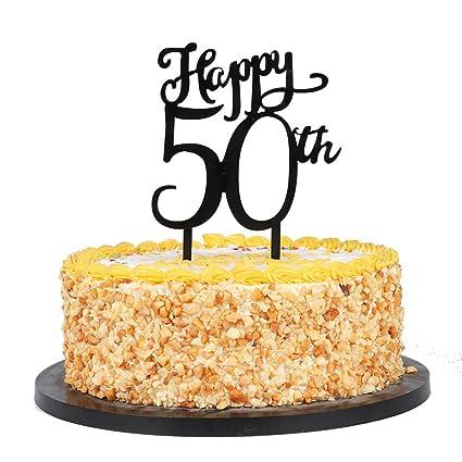 QIYNAO Plastic Happy 50th Cake Topper