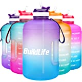 BuildLife Gallon Motivational Water Bottle Wide Mouth with Straw & Time Marked to Drink More Daily,BPA Free Reusable Gym…