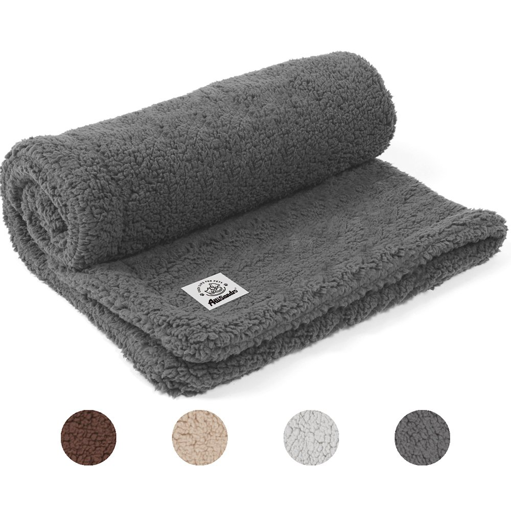 Allisandro [Upgrade Double Layer] Pet Premium Throw Blanket for Dog Cat Puppy Kitten Super Soft Fleece Velvet Four Color Three Size 39'' X 31'' Deep Grey