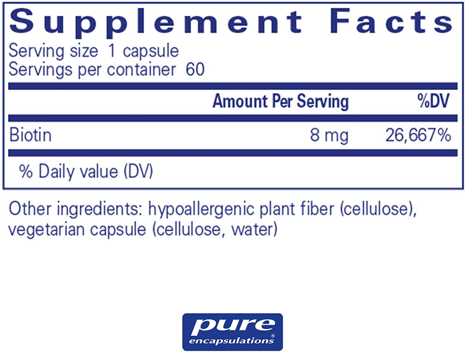 Pure Encapsulations Biotin Hypo-Allergenic Dietary Supplement 8 Milligrams - 60 Capsules (Pack of 2) by PE