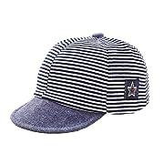 DANMY Baby Boy Girls Baseball Cap Striped Sunhat Infant Hat (Black)