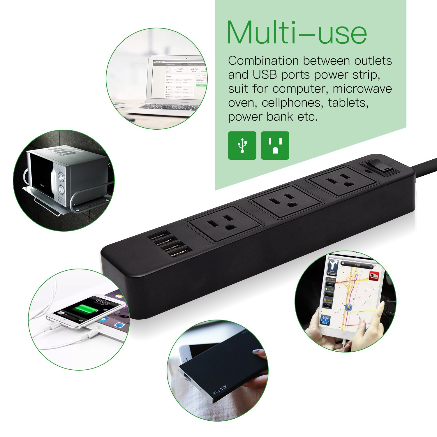Power Strip Surge Protector SUPERDANNY 3 Outlets with 4 USB Ports and 9.8ft Extension Cord 3000W 13A for Smartphone Tablet PC Home Travel Black by SUPERDANNY (Image #2)