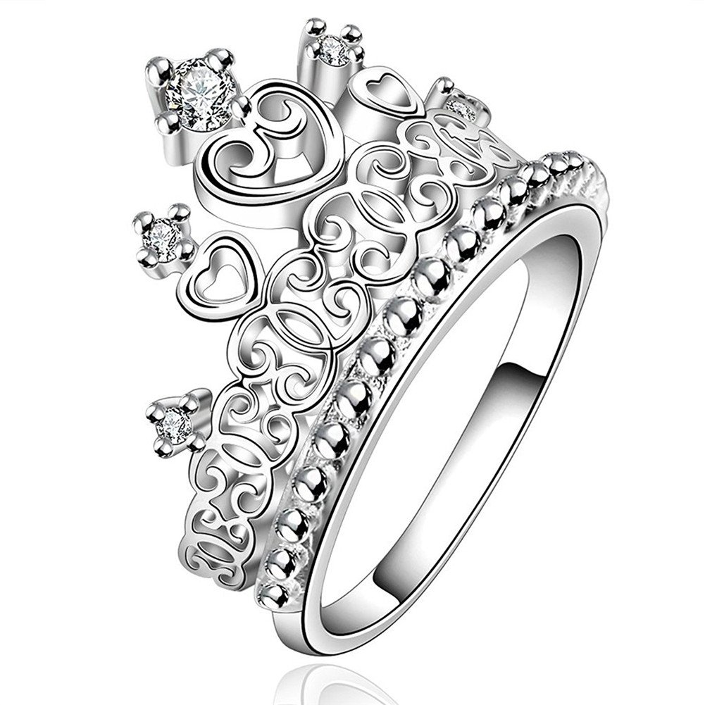 Ownsig Womens Silver Plated Heart Princess Crown Austrian Crystal Rhinestone Wedding Engagement Ring Jewelry