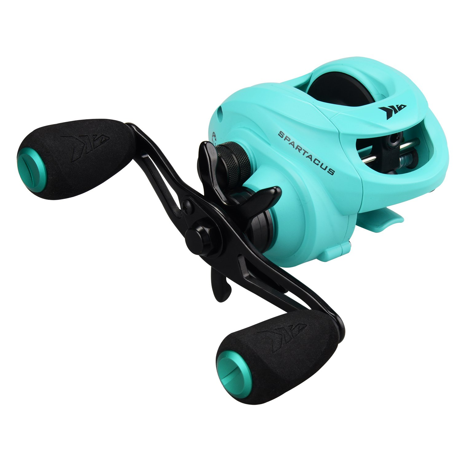 KastKing Spartacus Baitcasting Fishing Reel Ultra Smooth 17.5 LB Carbon Fiber Drag, 6.3:1 Gear Ratio,11 + 1 Shielded Ball Bearings, Rubber Cork Handle Knobs (C:Seafoam Green: Right Handed Reel)