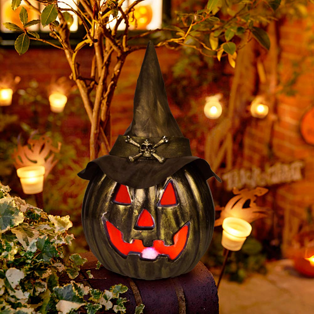 Halloween Pumpkin Lantern 14.96 Inches with LED Light for Halloween Decorations, Backyard, Lawn or Garden Decorations,Halloween Party Favors by FUN LITTLE TOYS