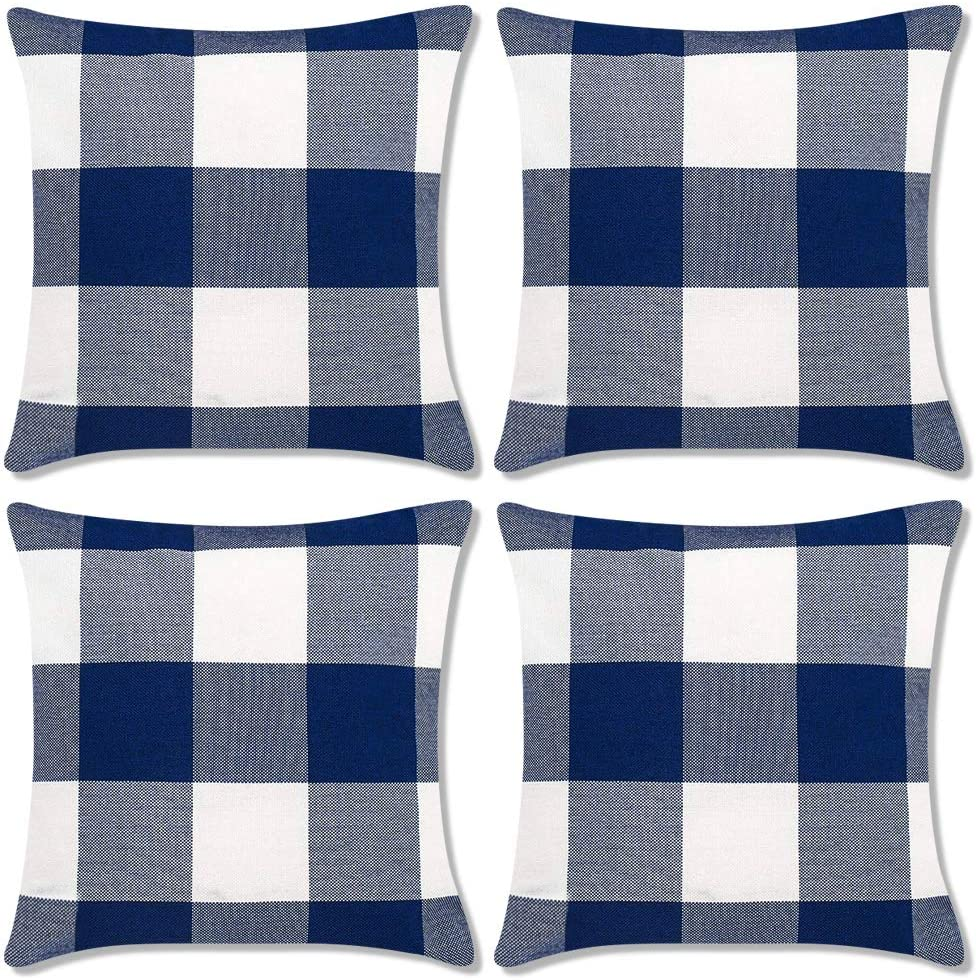 Decorbay Blue and White Buffalo Check Plaid Throw Pillow Covers 18x18 Set of 4 Farmhouse Decorative Square Pillow Covers Cushion case for Sofa Bedroom Home Decor