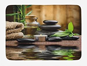 Ambesonne Spa Bath Mat, Massage Stone Triplets Herbal Oil and Scent Candles Print, Plush Bathroom Decor Mat with Non Slip Backing, 29.5