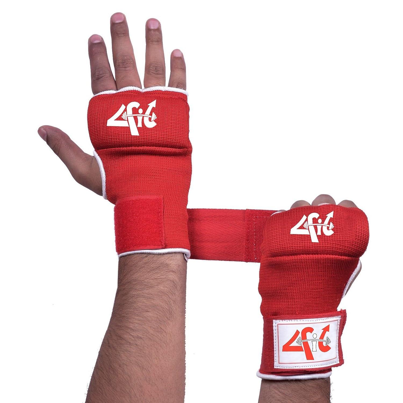 4フィットフォームパッド入りInner Gloves With Wrapsタイ式ボクシング格闘技ホワイトS - XL B00I9XK9M4 レッド Large