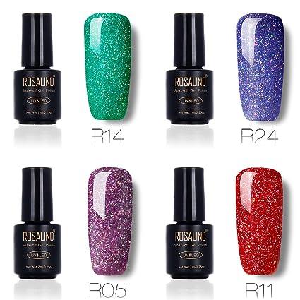 Juego de esmalte de uñas de gel con purpurina arcoíris para salón de uñas, UV. Pasa ...