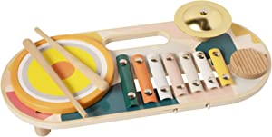 Manhattan Toy Beats to Go Wooden Toddler and Preschool Musical Toy Instrument Xylophone, Drum, Cymbal and Washboard