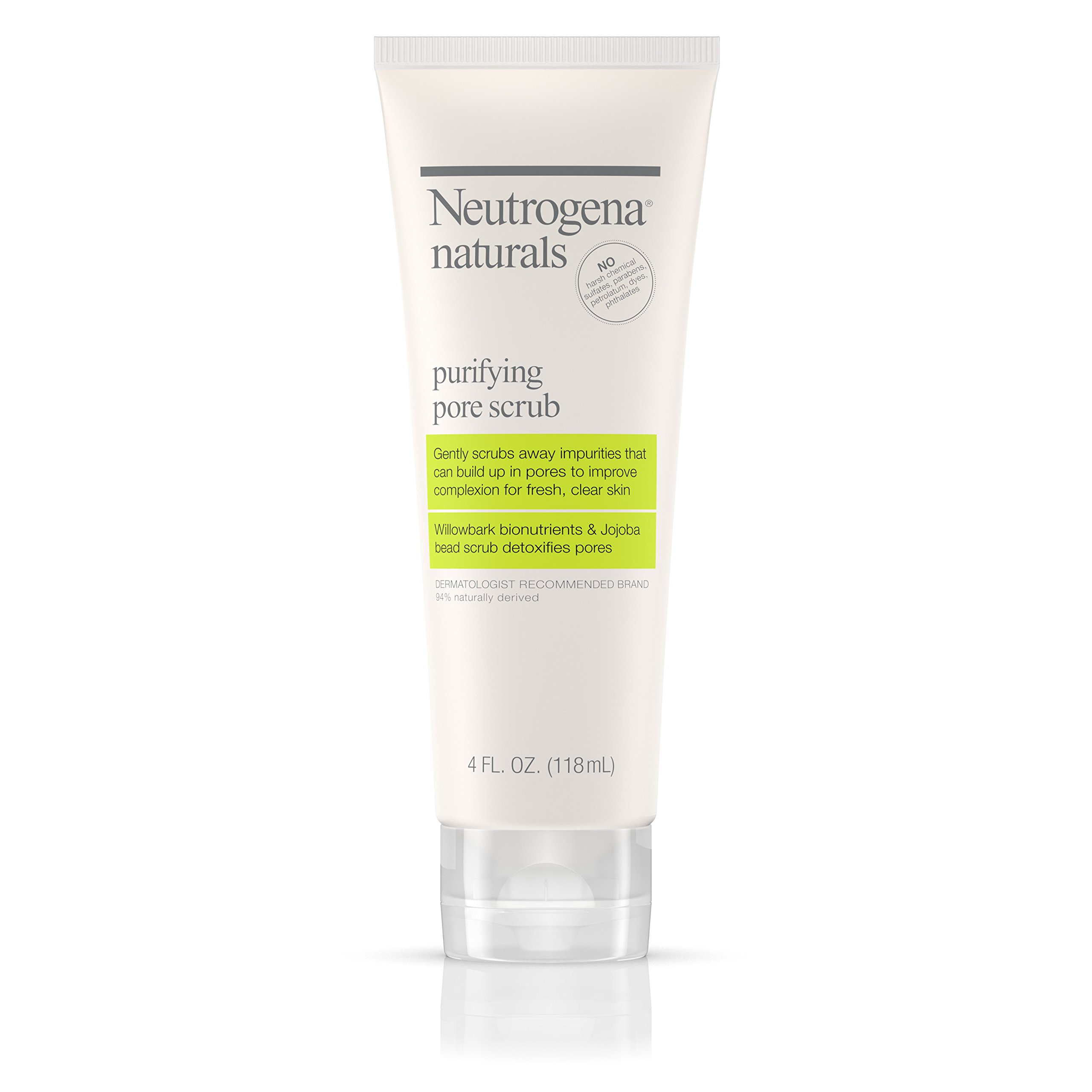 Neutrogena Naturals Purifying Daily Pore Facial Scrub with Natural Salicylic Acid from Willowbark Bionutrients, Hypoallergenic, Non-Comedogenic & Sulfate-, Paraben- & Phthalate-Free, 4 fl. oz