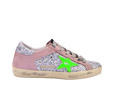 738556bdefee7 Amazon.com | Golden Goose Women's G34WS590O16 Pink Glitter Sneakers ...