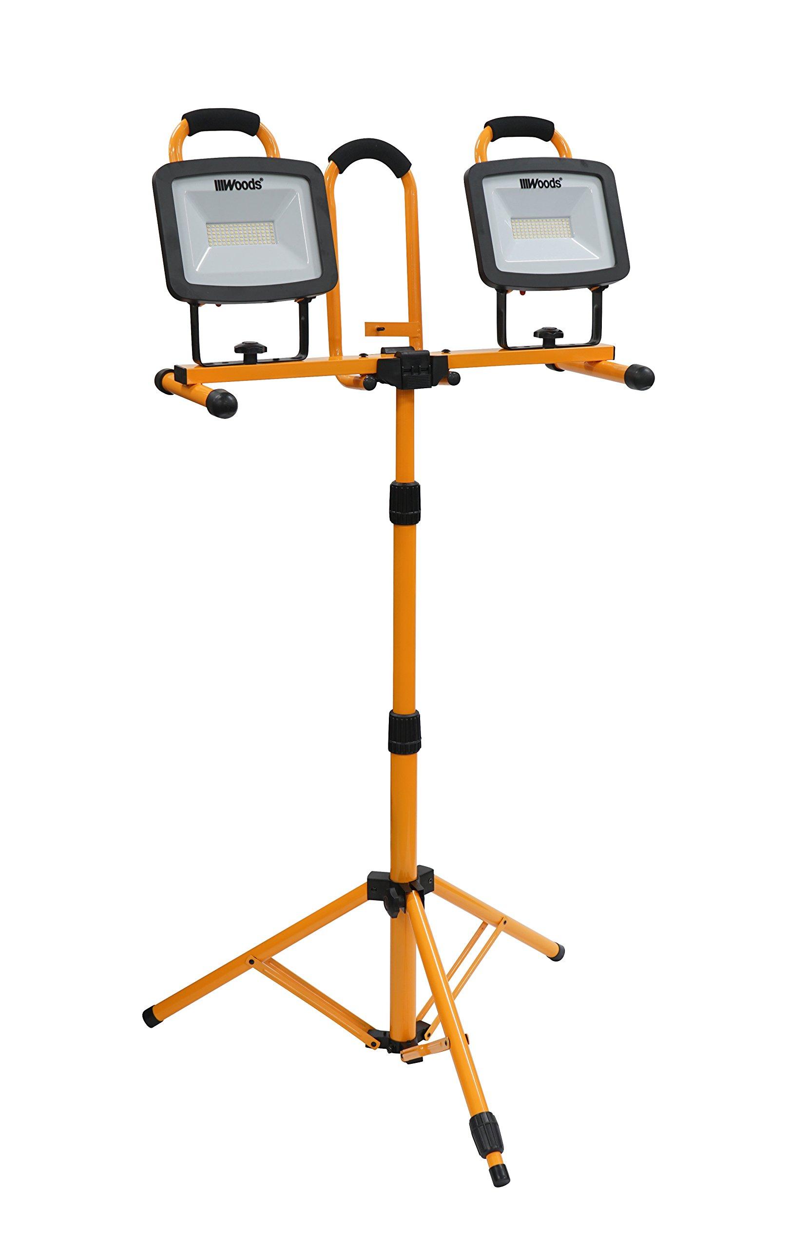 Woods WL40272S Portable LED Duel Work Light On Steel Tripod, 12000 Lumens, 140 Watts, 4000 Kelvin, 5 Foot Cord, Orange/Black by Woods