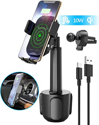 Wireless Charger Holder Merfinova Fast Wireless Phone Cup Holder Car Charger Universally Adjustable Car Phone Mount Wireless Charger Compatible with iPhone 8 X Xr Xs Max Samsung Galaxy S9 S8