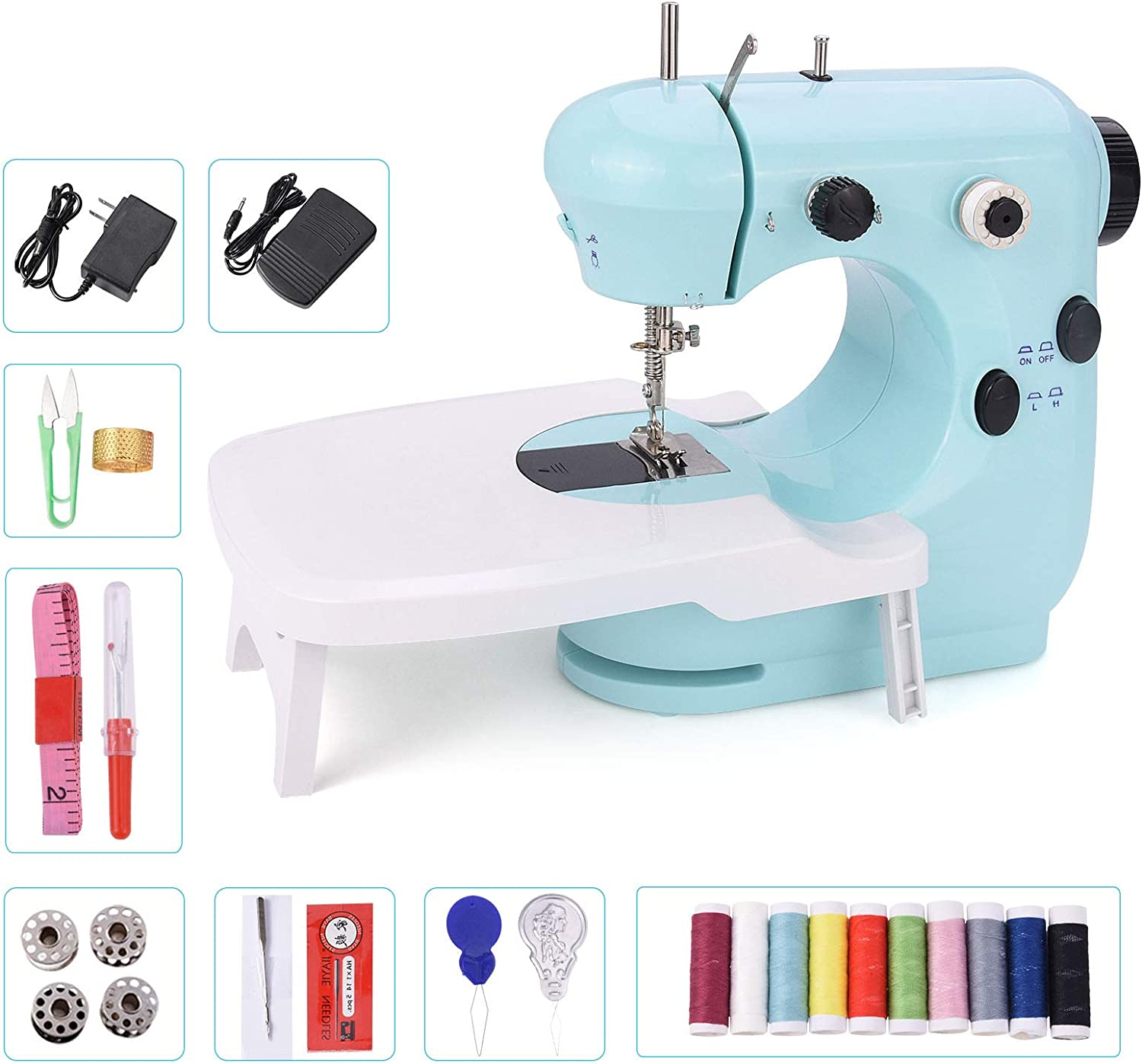 Amazon Com Suteck Mini Sewing Machine For Beginners Portable Electric Sewing Machines With Extension Table Lamp And Thread Cutter With Shared 10 Thread Spools Home Kitchen