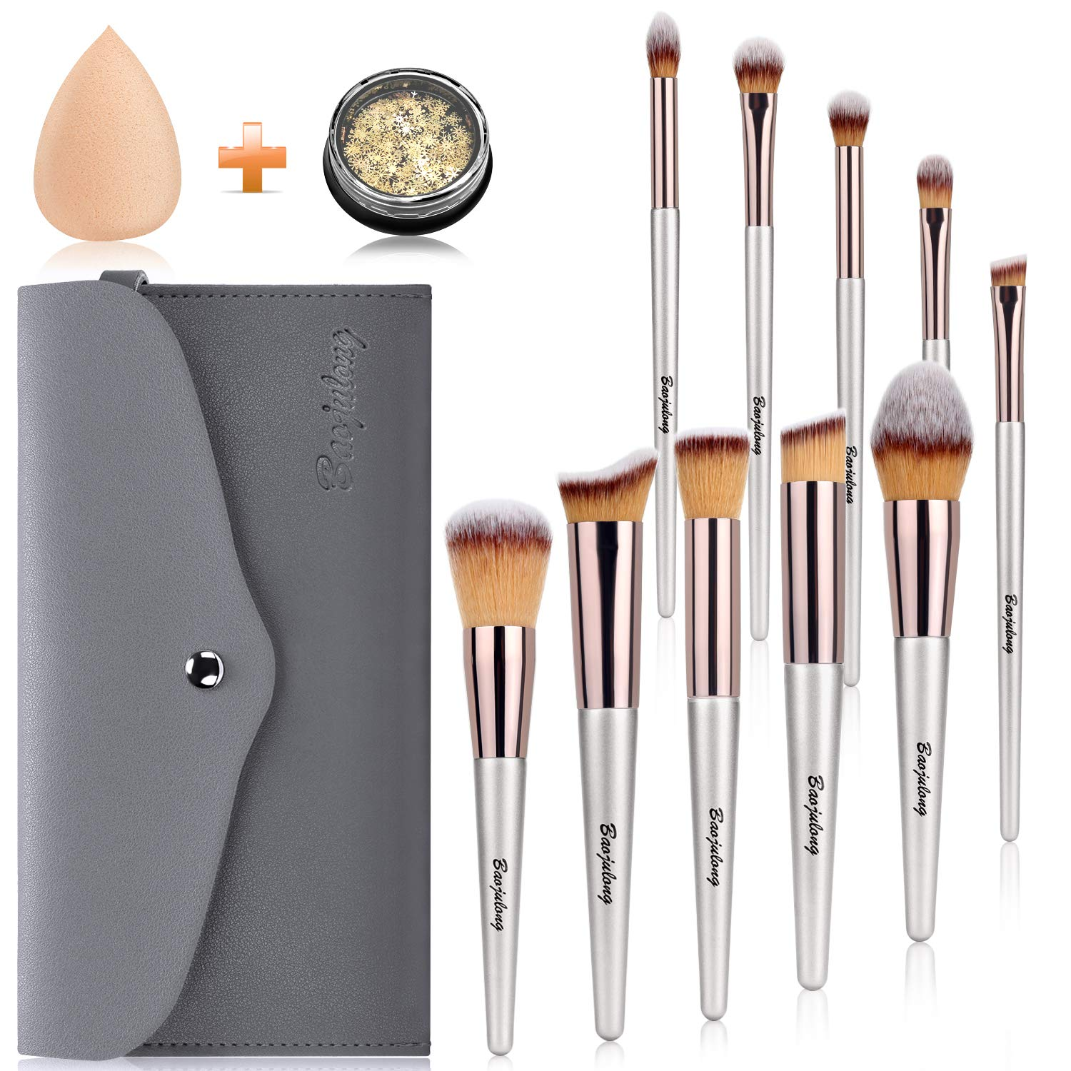 Baojulong Makeup Brushes 10 Pcs Makeup Brush Set Pro Foundation Blending Face Powder Blush Concealers Eye Shadows Make Up Brushes Kit with Cosmetic Bag Blender Sponger Snowflakes Beauty Tools Gifts