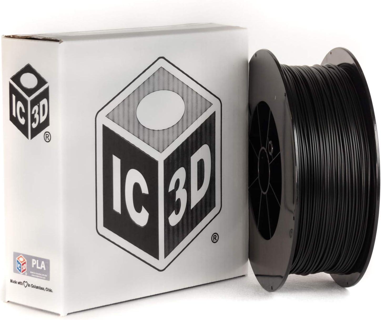IC3D Black 1.75mm PLA 3D Printer Filament - 2.5kg Spool - Dimensional Accuracy +/- 0.05mm - Professional Grade 3D Printing Filament - Made in USA