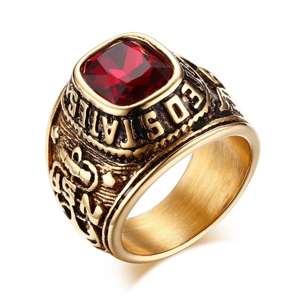 Vnox arm/ée des /États unis,anneaux,eagle hawk us army,acier inoxydable pierre plaqu/é or cristal rouge