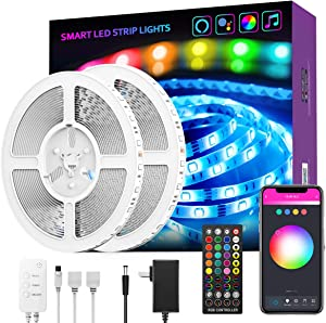 LED Light Strip, GroHome 32.8ft Smart WiFi Strip Lights Kit Works with Google and Alexa, Music Sync RGB Color Changing Tape Lights for Bedroom, Living Room, Kitchen, TV, Party