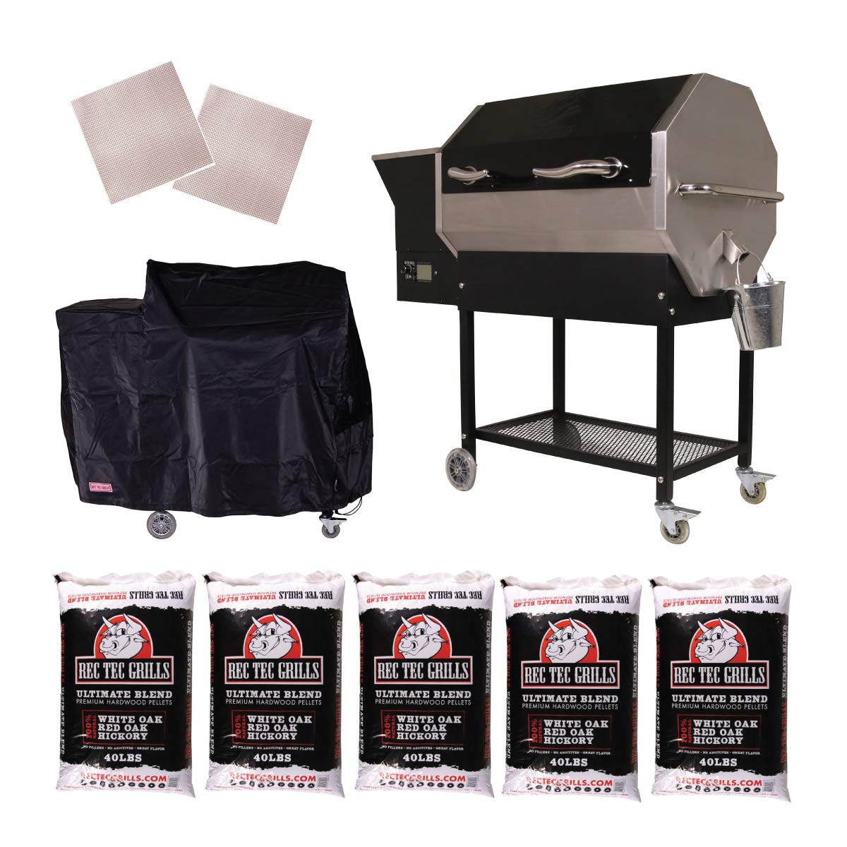 REC TEC Grills RT-590 Bundle WiFi Enabled Portable Wood Pellet Grill Built in Meat Probes Stainless Steel 30lb Hopper 4 Year Warranty Hotflash Ceramic Ignition System
