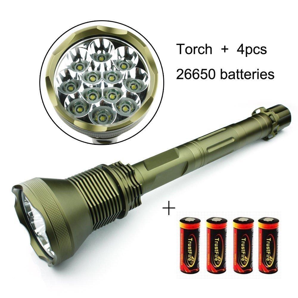 E-Plaza neue im Freien 13000 Lumen 12 x CREE XM-L T6 LED Taschenlampe + 4 * 5800mAh 26650 wiederaufladbare Batterien