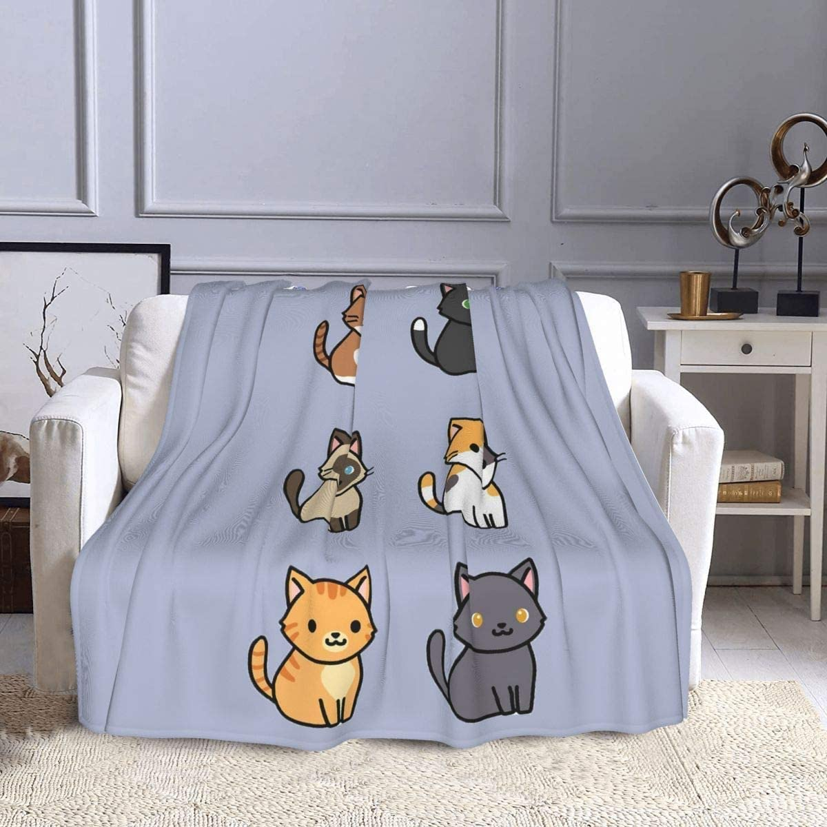 I love you here. Funny Cats Ultra-Soft Flannel Blanket Lightweight Cozy Bed Throw Printing Blankets and Throws for Bed Couch 50x40 inch