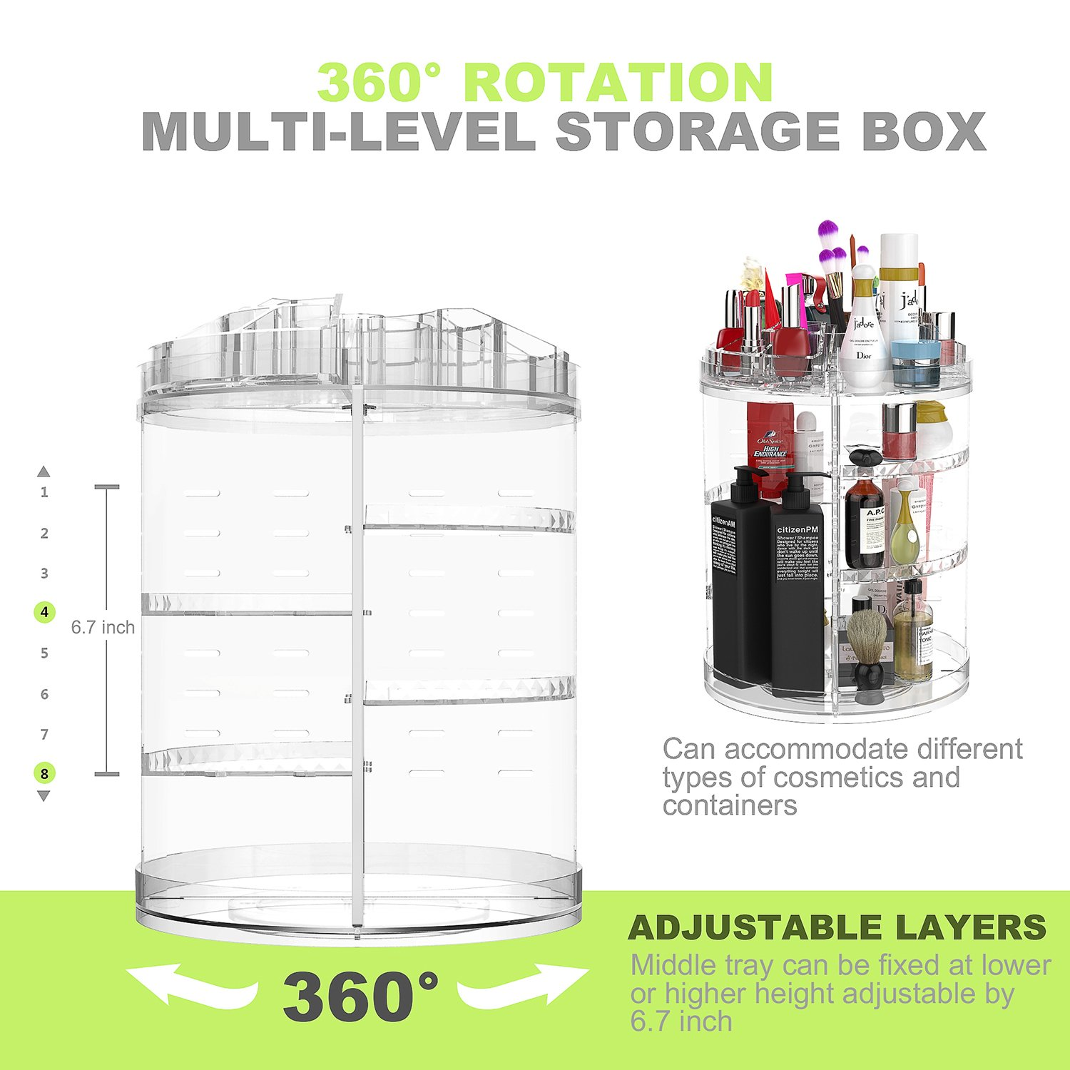 Makeup Organiser, 360 Degree Rotating Adjustable Jewelry and Cosmetic Display Stand, 8 Layers Make Up Storage Box - Crystal Clear