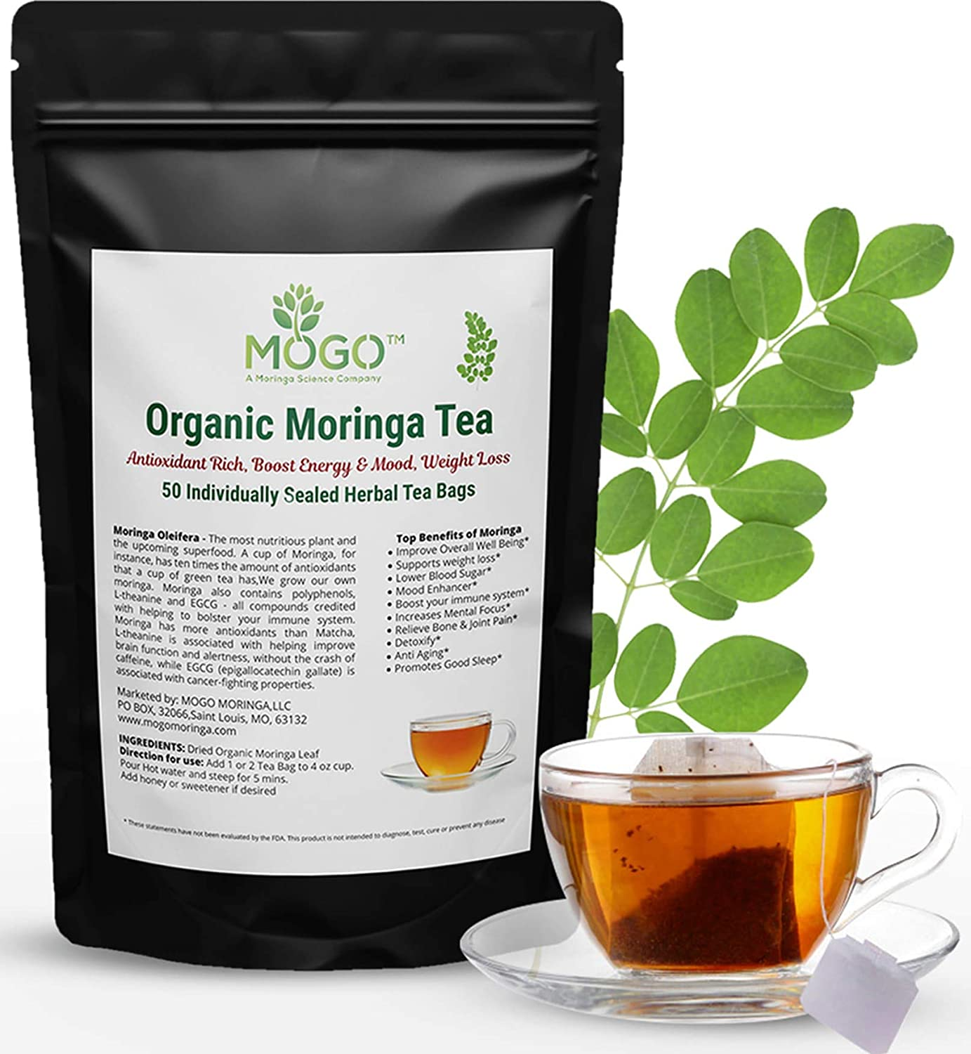 Fresh Organic Moringa Tea,50 Single Tea Bags.Immune & Energy Booster,Natural Weight Loss,Stress Relief, Antioxidants Loaded Superfood Tea.