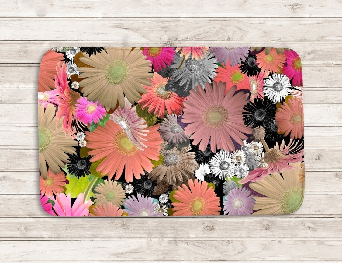 Amazon Com Colorful Floral Microfiber Bath Mat Artist Bathroom Accessories Funky Unique Shabby Chic Designer Rug Handmade