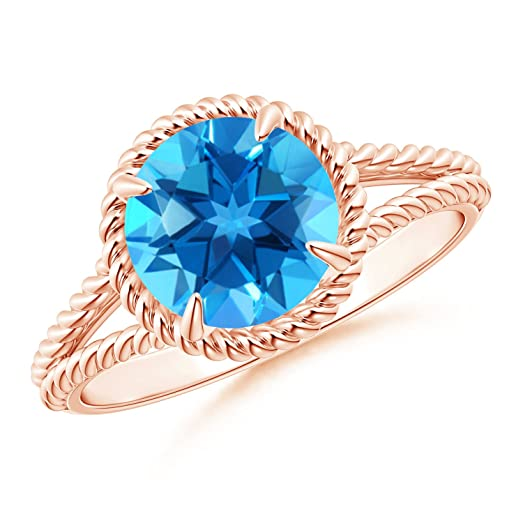 Angara Cushion Swiss Blue Topaz Split Shank Ring with Double Halo Fx7Wgx1C