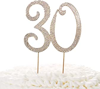 30 Gold Cake Topper | Premium Sparkly Crystal Rhinestones | 30th Birthday or Anniversary Party Decoration Ideas | Quality Metal Alloy | Perfect Keepsake