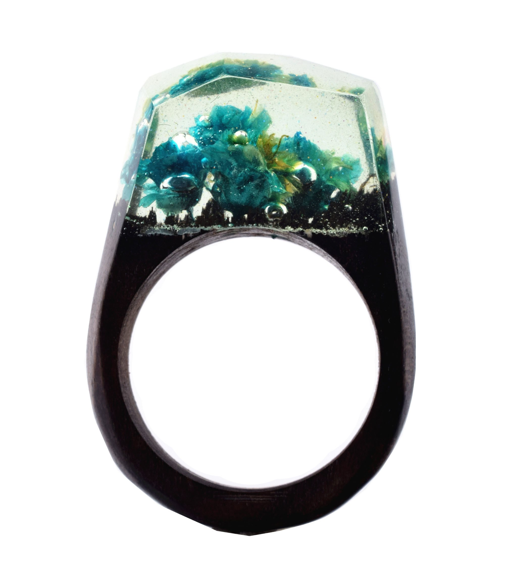 Heyou Love Handmade Wood Resin Ring With Blue Flowers Micro Inside Rings Jewelry