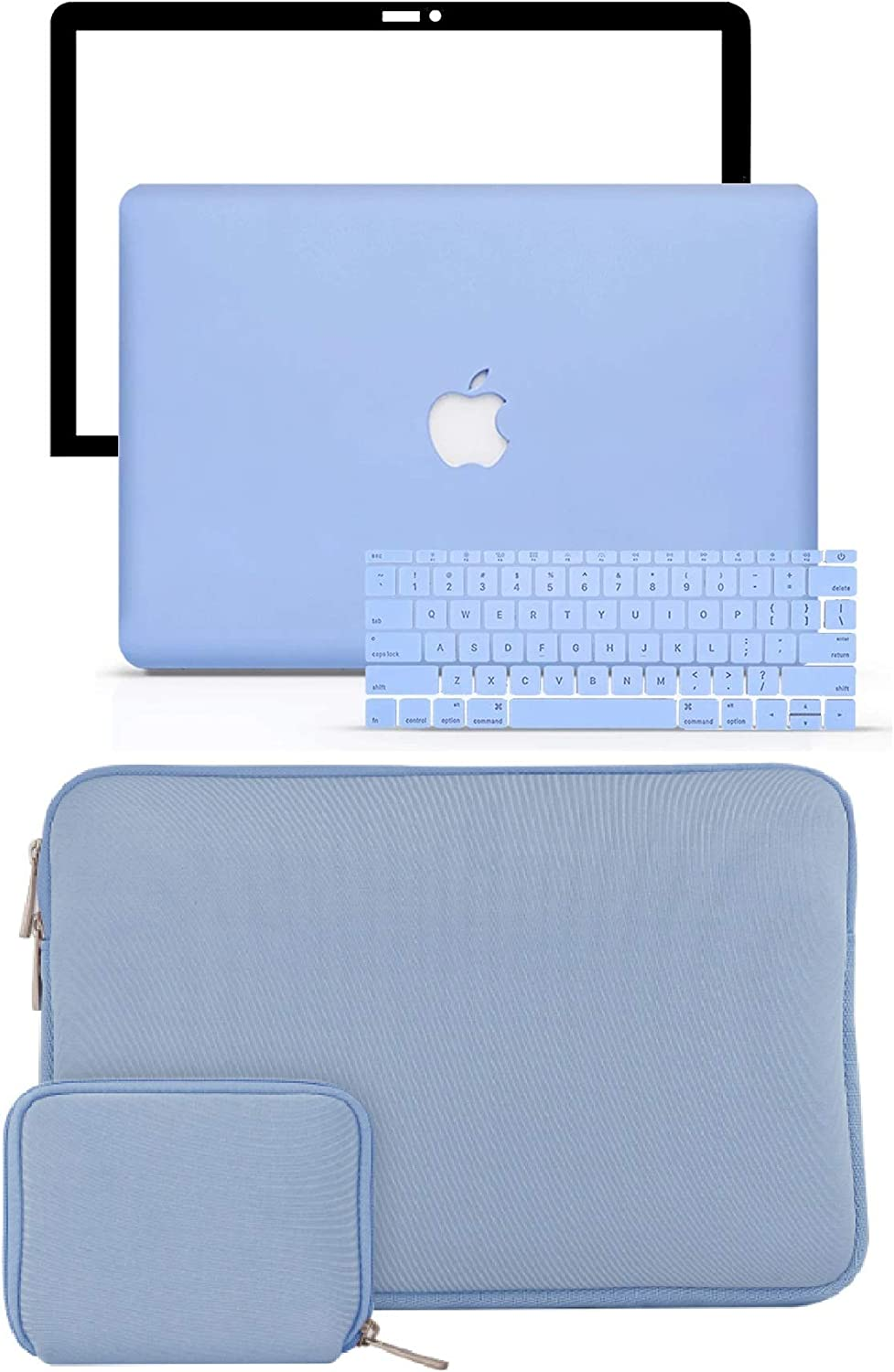 "LuvCase 5 in 1 Laptop Case for Old MacBook Pro 13"" Retina Display (2015/2014/2013/2012) A1502/A1425 Hard Shell Cover, Slim Sleeve, Pouch, Keyboard Cover & Screen Protector  (Serenity Blue)"